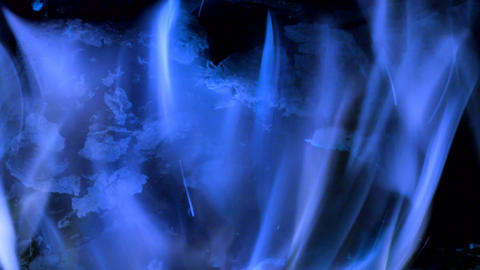 Intense blue flames blazing in fireplace. Burning woods shiver in hot air and bl Live Action