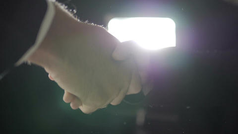 Business people hand shake in the meeting slow motion Footage