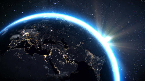 Planet earth Europe zone with night time and sunrise from space Videos animados