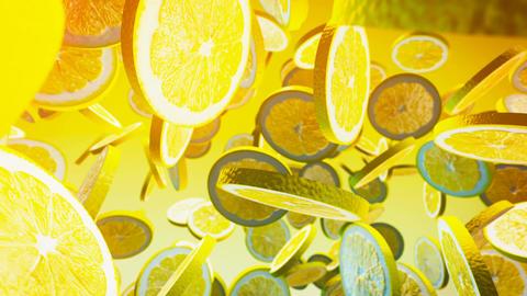 Falling fresh lemon on yellow background Animation
