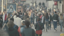 Many people. Crowd. Crowded street. Slow motion Footage