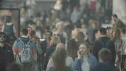 Urban. Many people. Crowd. Crowded street. Slow motion Footage
