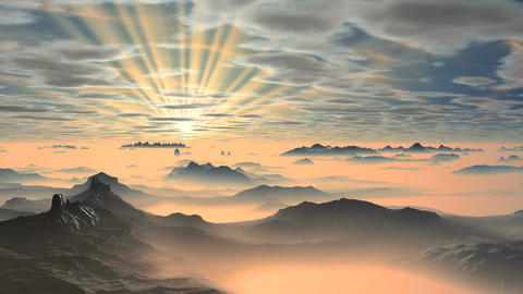 Colorful Dawn over Misty Mountains 画像