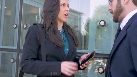 A beautiful female business executive shows her male... Stock Video Footage