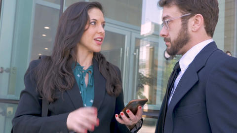 An attractive executive businesswoman shows her boss, colleague, or employee Footage