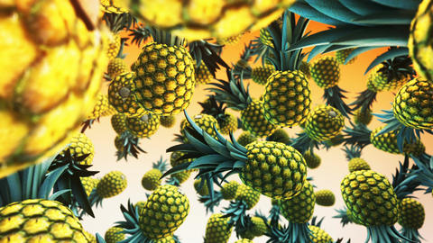 Falling fresh ananas on green background Animation