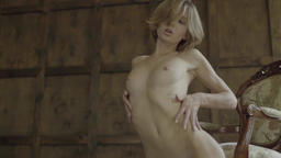 Naked young girl. Slow motion. Sexy girl. Nude Footage