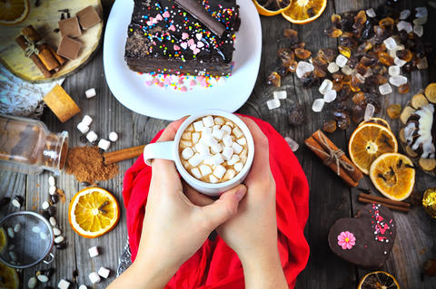 Cup of hot chocolate with white marshmallow Photo