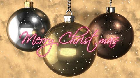 """""""Merry Christmas"""" decoration. copper, silver, gold balls Animación"""