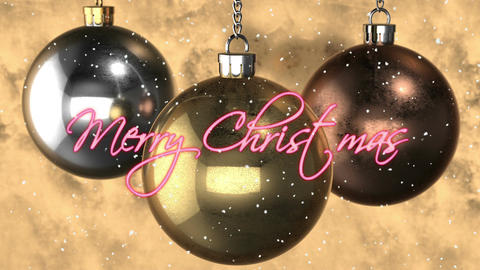 """""""Merry Christmas"""" decoration. copper, silver, gold balls Stock Video Footage"""