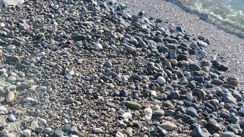Sea Waves on Pebbles Footage