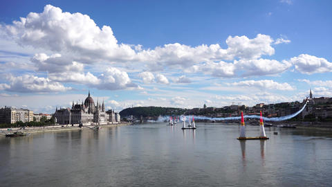 Air race on the Danube River Footage