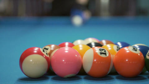 Young man playing billiard Footage