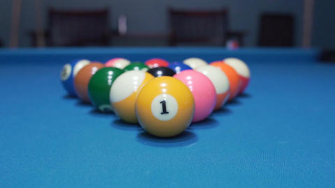 Billiard balls on Blue baize Footage
