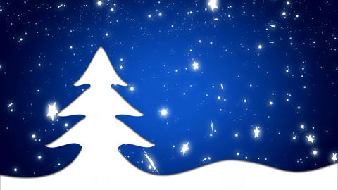 Merry Christmas and happy new year background blue and Christmas tree Animation