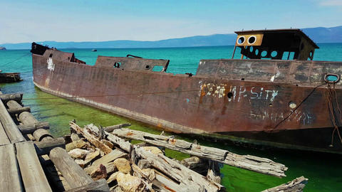 Old ships on the shore of Lake Baikal Live Action