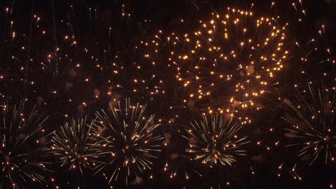 Colorful fireworks on the black sky background 4K Footage