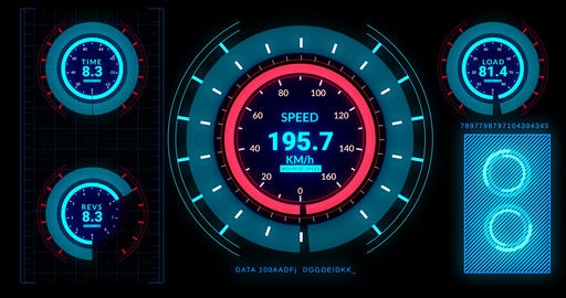 Head up display of futuristic car interface with speed,distance indicators Animación