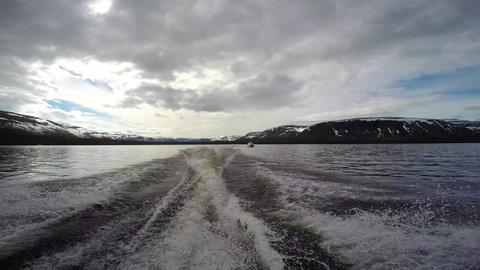 Boat trip on lake Lovozero. Kola Peninsula. Russia ビデオ