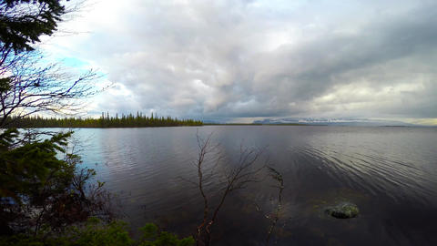 On the shore of lake Lovozero. Kola Peninsula. Russia Footage