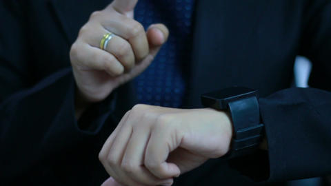 Close up shot hands of woman using smart watch Footage