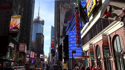 USA New York City Manhattan Times Square with H&M Tower Footage
