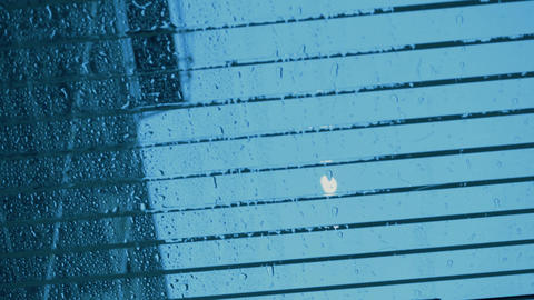 Glass canopy, cover, with rainy drops and moon view. Edit... Stock Video Footage