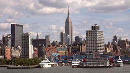 USA New York City Manhattan Chelsea riverbank and Empire State Building Footage