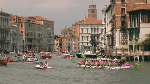 Kayaking rowing competition in Venice, Italy. Edit sequence Footage