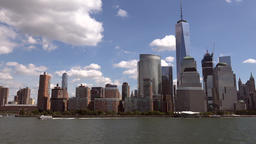 USA New York City Manhattan skyline of financial district seen from Hudson River Footage