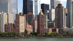 USA New York City Manhattan Hudson River Esplanade Park and skyscrapers Footage