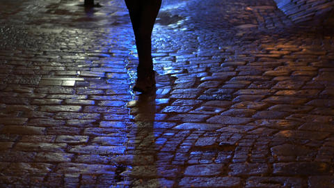 Girl walks on the stone bricks wet road with neon light reflections Archivo