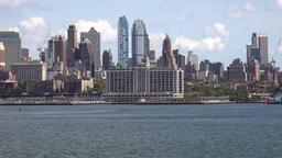USA New York City Brooklyn skyline seen from a ship on Upper Bay Footage