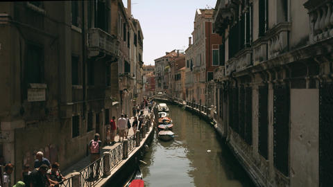 Venice canal with walking people at summer Footage