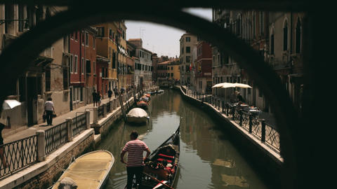 Quiet street in Venice with gondola taxi boat Footage