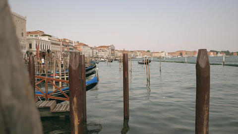 Gondola boats parking place in Venice Footage