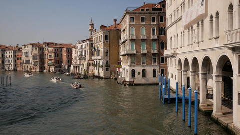 Wide water street in Venice with boats Footage