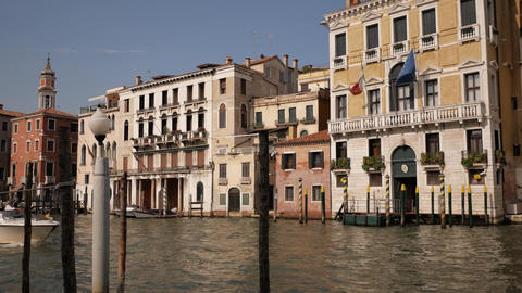 Venice lovely water street view with sailing boat Footage