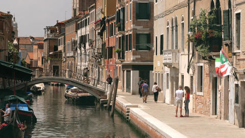Ordinary street in Venice with church tower view Footage