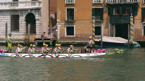 Rowing team on dragon canoe. Venice, Italy Footage