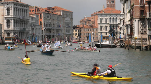 Kayaking rowing competition in Venice, Italy Footage