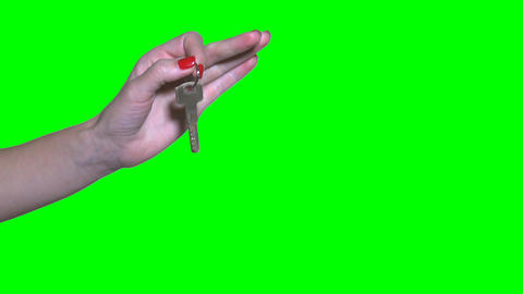 Unrecognizable businesswoman pass house key to man hand isolated on green Footage