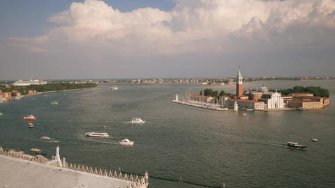 Church of San Giorgio Maggiore view with canal in Venice Footage