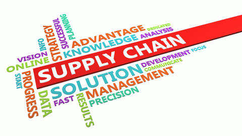 Supply Chain Word Cloud Concept Isolated on White Live Action