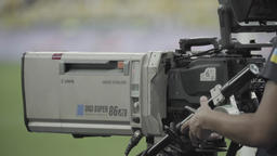 TV camera during tv broadcast at the stadium Footage