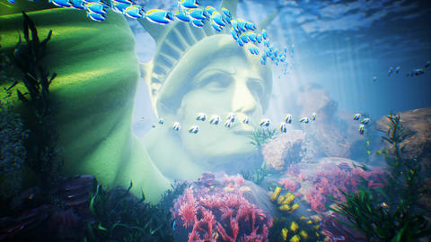 Underwater ocean waves ripple with tropical fish and statue of liberty. Looped Animation
