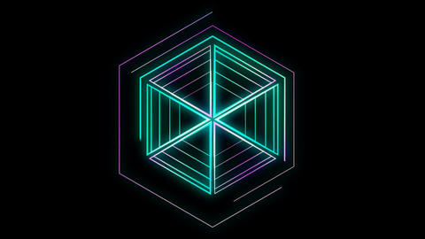 Glowing 3D geometric looping hexagons UI shape Animation