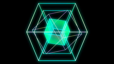 Glowing 3D geometric looping hexagons UI shape Stock Video Footage