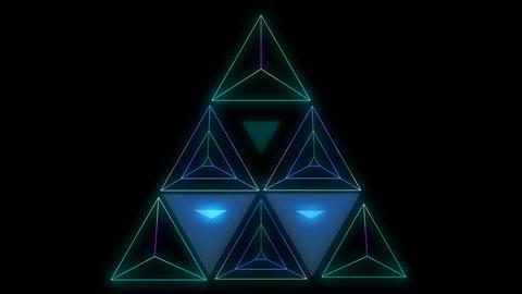 Glowing triangular looping 3D geometric UI shape Animation