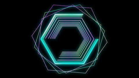 Glowing 3D geometric looping hexagons UI shape Animation